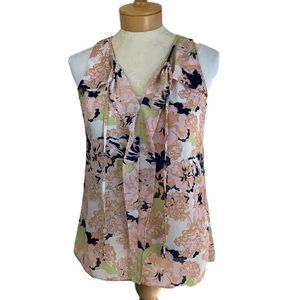 Rose&Olive Floral Sleeveless Top Peach Multi Small